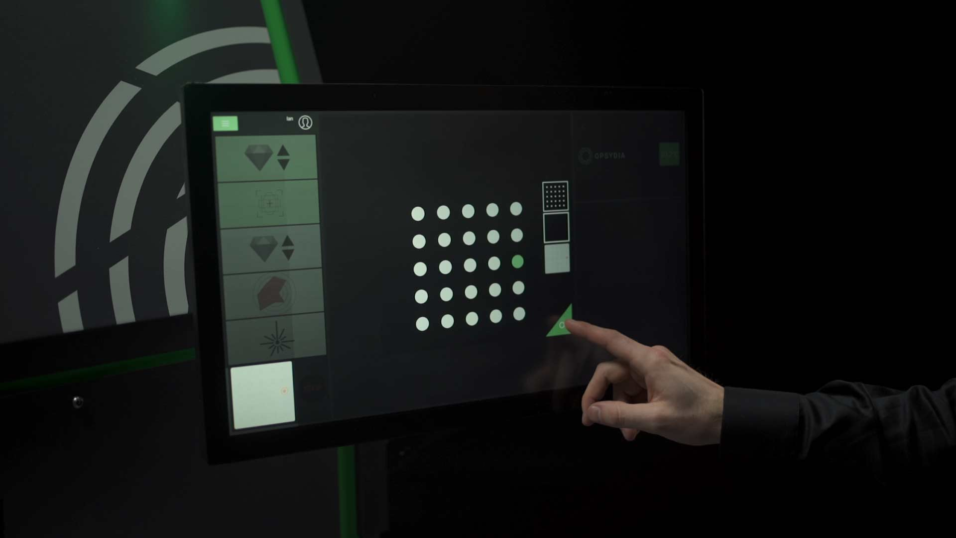 Opsydia System user interface touchscreen computer