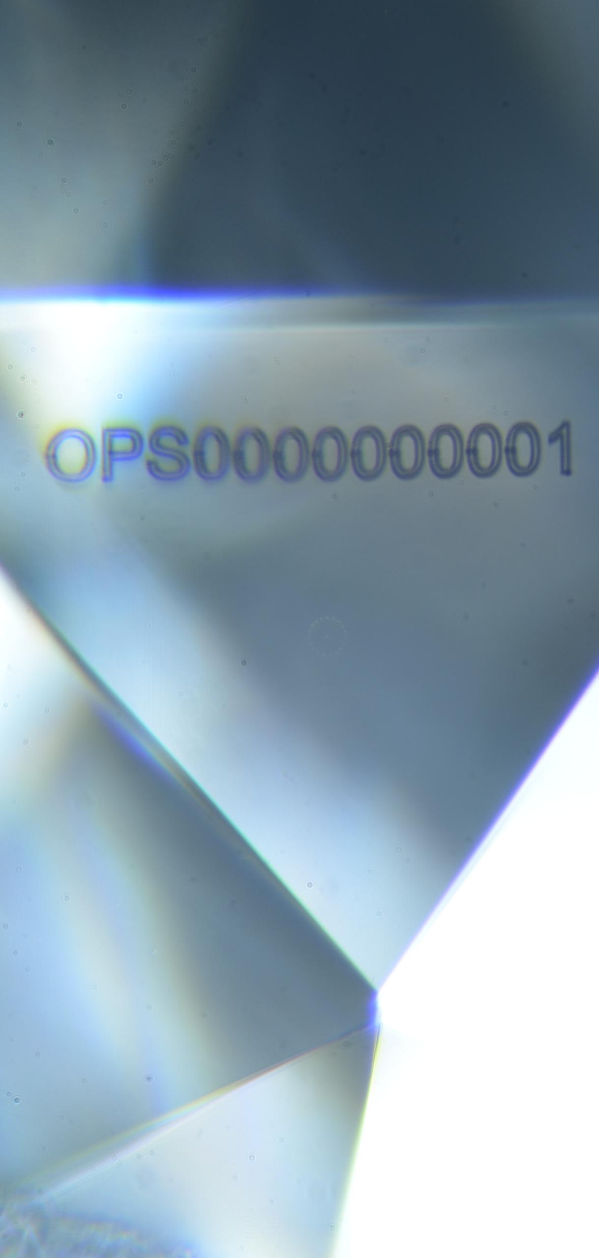 Opsydia alphanumeric Loupe ID beneath the surface of a diamond